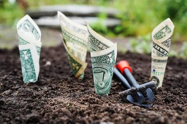 土の中の紙幣