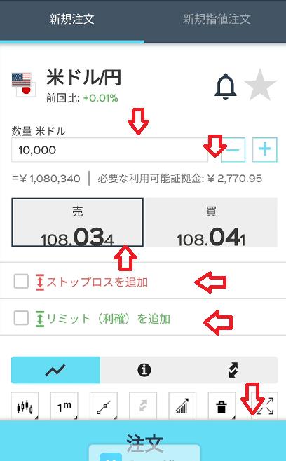 米ドル注文画面