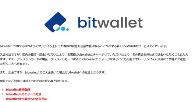 bitwalletの入出金内容
