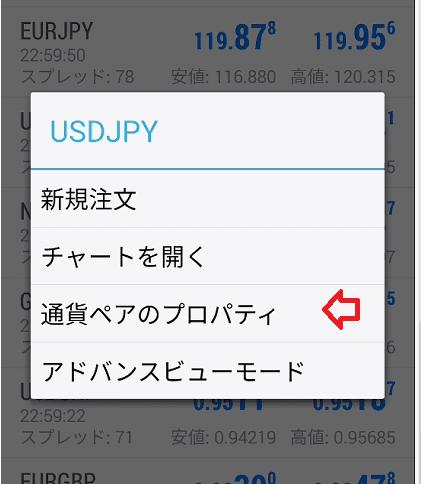 気配値一覧で銘柄をクリックして通貨ペアのプロパディ
