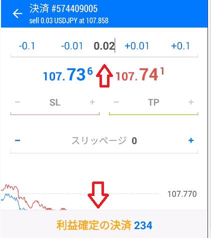 0.02に変更し利益(損失)確定の決済ボタン