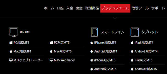 MT4やMT5のインストール項目
