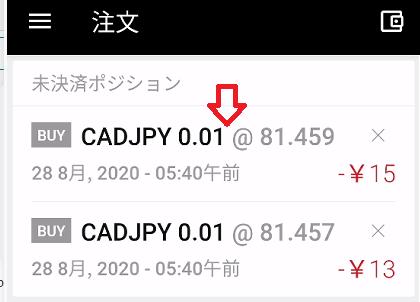 CADJPYのポジション